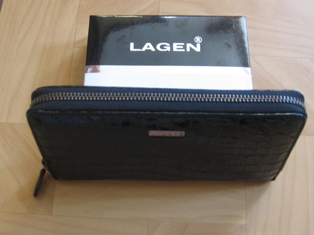 Luxusní dámská, černá kožená peněženka,Lagen penál,poštovné zdarma