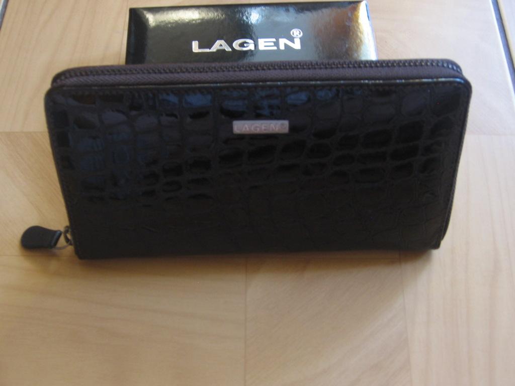 Luxusní dámská,tmavě hnědá kožená peněženka,Lagen penál,poštovné zdarma
