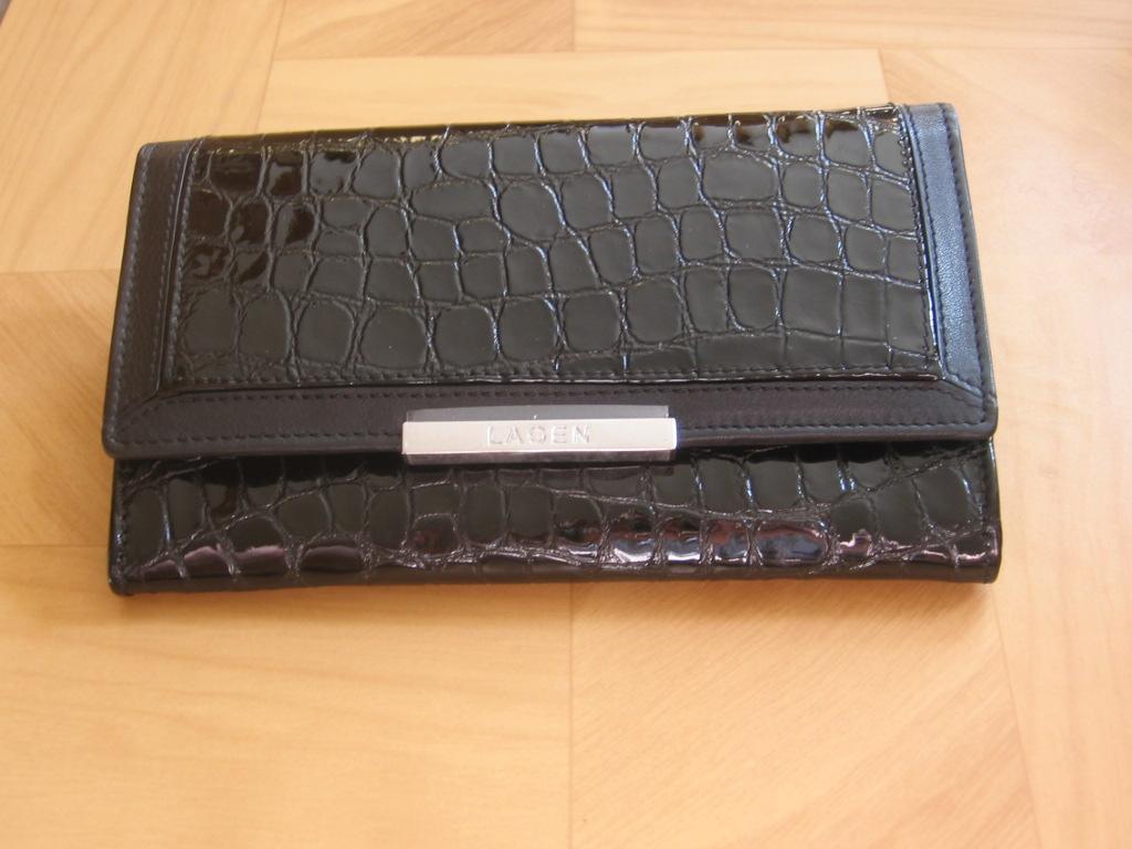 Luxusní dámská,černá, kožená peněženka,Lagen 614811,poštovné zdarma