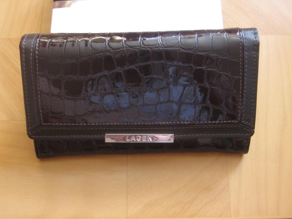 Luxusní dámská,černo-hnědá, kožená peněženka,Lagen 614811,poštovné zdarma