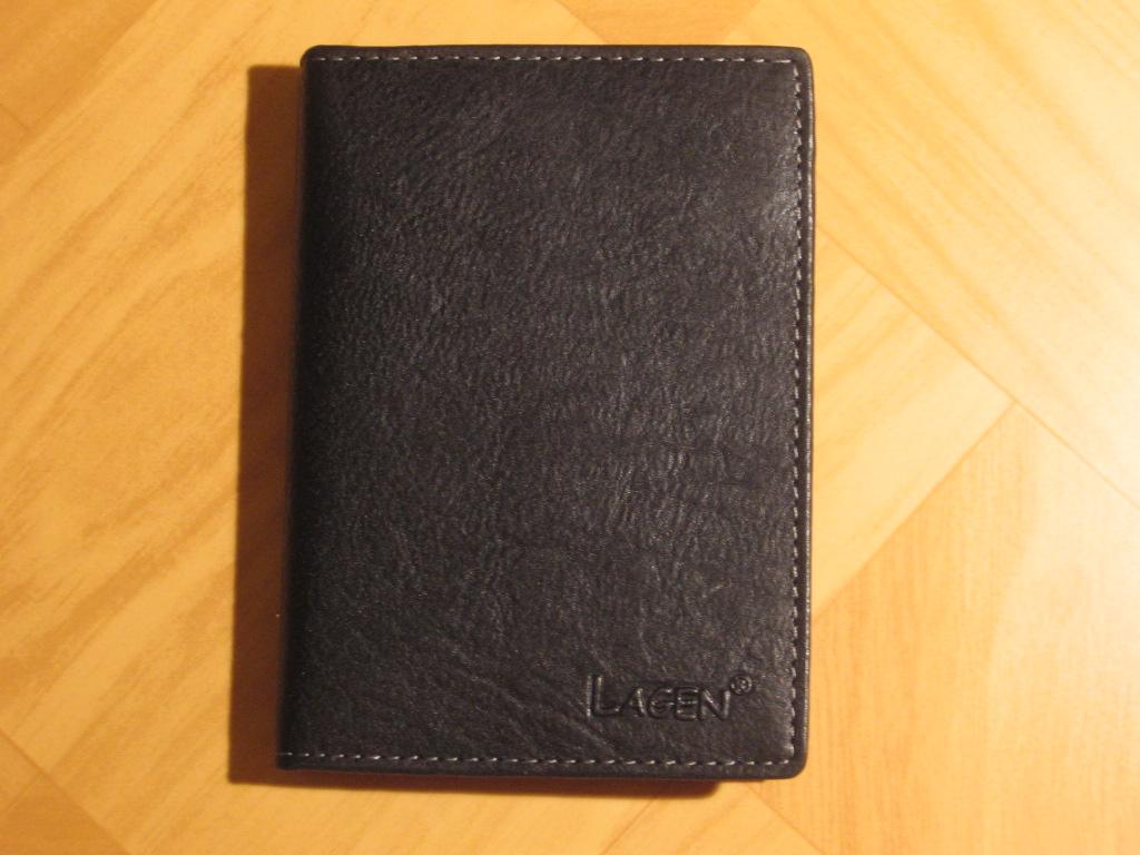 Luxusní dámská černá kožená dokladovka lagen 1486/T